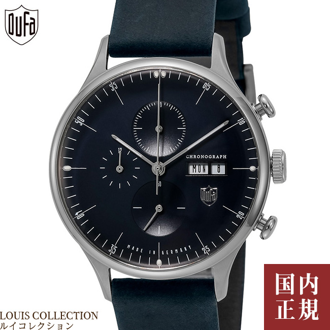 ドゥッファ 腕時計 ファン デル ローエ バルセロナ クロノグラフ 38mm メンズ レディース ドイツ製 ネイビー/シルバー レザー DUFA DF-9021-J4 安心の正規品 代引手数料無料 送料無料