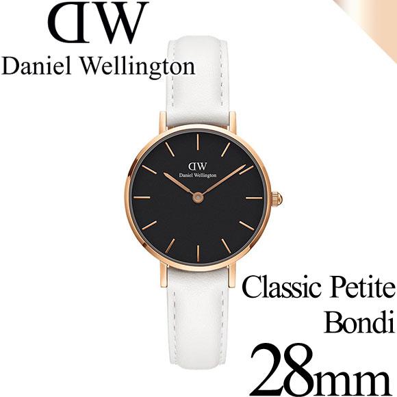 ダニエルウェリントン 腕時計 クラシックペティット 28mm ボンダイ ブラック ローズゴールド ホワイト レディース Daniel Wellington DW00100285 安心の正規品・2年保証 代引手数料無料 送料無料 あす楽 即納可能