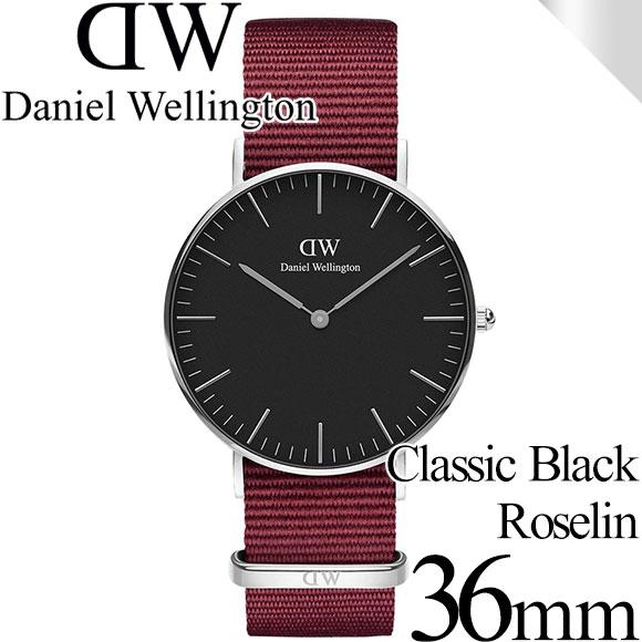 ダニエルウェリントン 腕時計 クラシックブラック 36mm ロゼリン シルバー ブラック メンズ/レディース Daniel Wellington CLASSIC DW00100274 安心の正規品・2年保証 代引手数料無料 送料無料 あす楽 即納可能