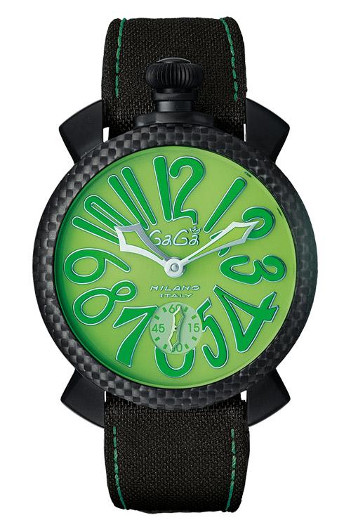 当店のお買い物マラソンはエントリーで更にポイント10倍!19日(土)1:59まで!国内正規品 2年保証 GAGA MILANO ガガミラノ 手巻き式 腕時計 MANUALE 48MM(マニュアーレ 48mm) SwissMade 限定500本 メンズ カーボンベゼル グリーン 5016.11s 代引手数料無料 送料無料
