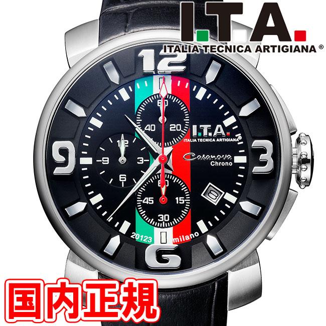 I.T.A. アイティーエー 腕時計 Casanova Chrono Tricolore カサノバ クロノ トリコローレ メンズ クロノグラフ ブラック レザー Ref.12.70.22 安心の正規品 代引手数料無料 送料無料