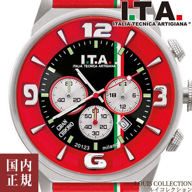 I.T.A. アイティーエー 腕時計 グランクロノ 日本限定150本 メンズ トリコローレライン ブラックサンレイ/レッド レザー GRAN CHRONO Ref.27.00.04 安心の正規品 代引手数料無料 送料無料 あす楽 即納可能