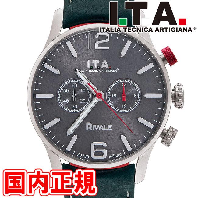 I.T.A. アイティーエー 腕時計 リヴァーレ クロノグラフ ドーム型ガラス メンズ グレー/シルバー/ペトロール レザー RIVALE Ref.29.00.02 安心の正規品 代引手数料無料 送料無料