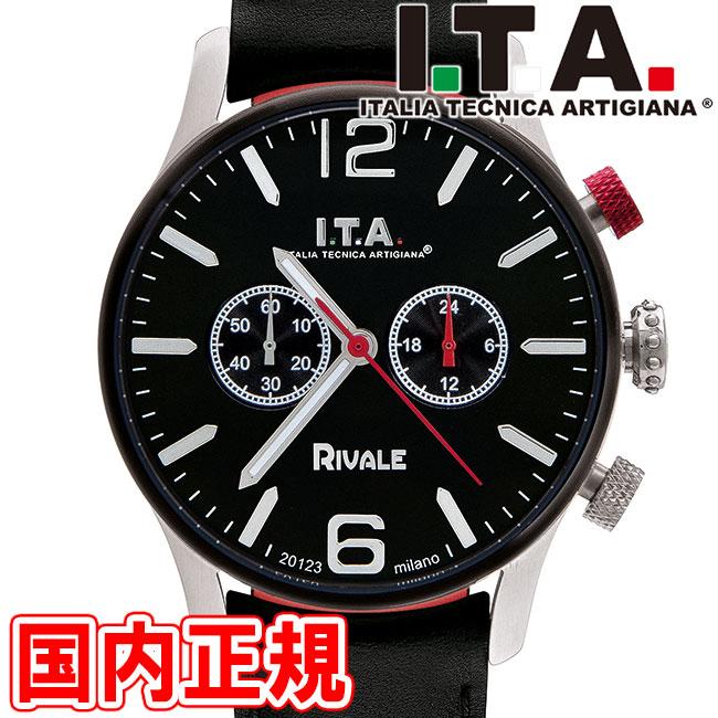 I.T.A. アイティーエー 腕時計 リヴァーレ クロノグラフ ドーム型ガラス メンズ ブラック/シルバー レザー RIVALE Ref.29.00.04 安心の正規品 代引手数料無料 送料無料 あす楽 即納可能