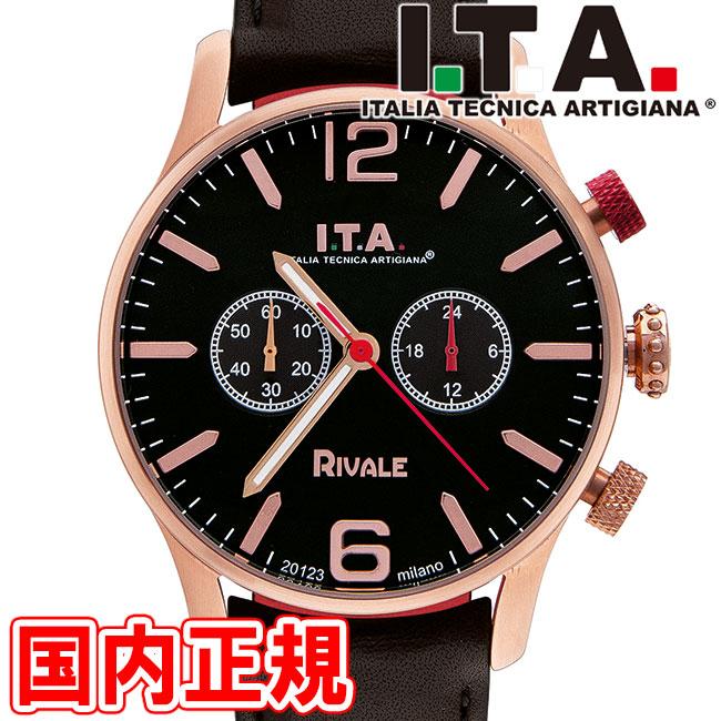 I.T.A. アイティーエー 腕時計 リヴァーレ クロノグラフ ドーム型ガラス メンズ ダークブラウン/ローズゴールド レザー RIVALE Ref.29.00.05 安心の正規品 代引手数料無料 送料無料