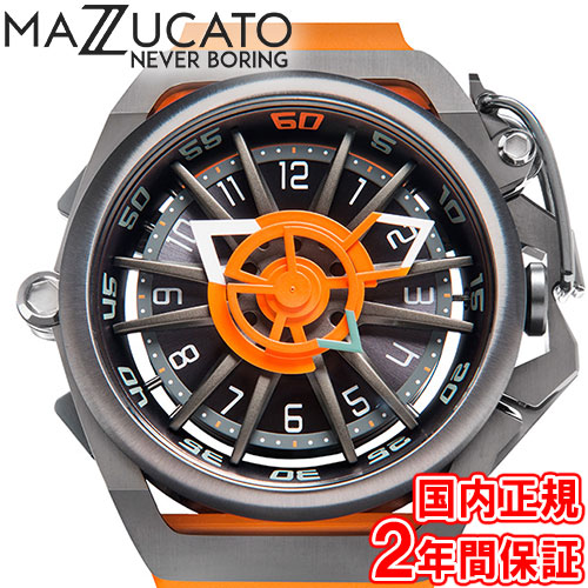 マッツカート 腕時計 メンズ リム オートマチック 48mm 自動巻き ガンメタル/オレンジ MAZZUCATO R.I.M. 05-OR5555 安心の正規品 代引手数料無料 送料無料
