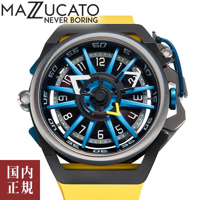 マッツカート 腕時計 メンズ リム オートマチック 48mm 自動巻き ブラック/イエロー MAZZUCATO R.I.M. 06-YL654 安心の正規品 代引手数料無料 送料無料