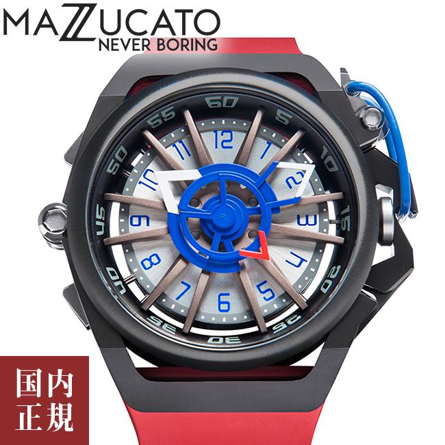 マッツカート 腕時計 メンズ リム オートマチック 48mm 自動巻き ブラック/レッド MAZZUCATO R.I.M. 07-RD7685 安心の正規品 代引手数料無料 送料無料