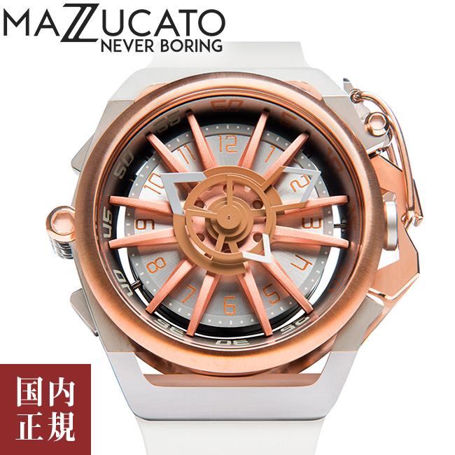 マッツカート 腕時計 メンズ リム オートマチック 48mm 自動巻き ローズゴールド/ホワイト MAZZUCATO R.I.M. 11-WHCG5 安心の正規品 代引手数料無料 送料無料