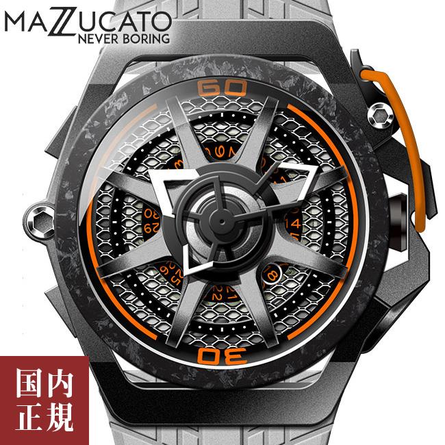 マッツカート 腕時計 メンズ リム スポーツ モンツァ オートマチック 48mm 自動巻き グレー/オレンジ MAZZUCATO R.I.M. F1-GYBLK 安心の正規品 代引手数料無料 送料無料