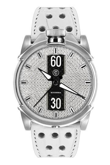 【完売】CT スクーデリア DIAMONDS ダイアモンド 自動巻き メンズ腕時計 ホワイト/シルバー/ダイヤモンド CT SCUDERIA CS10207