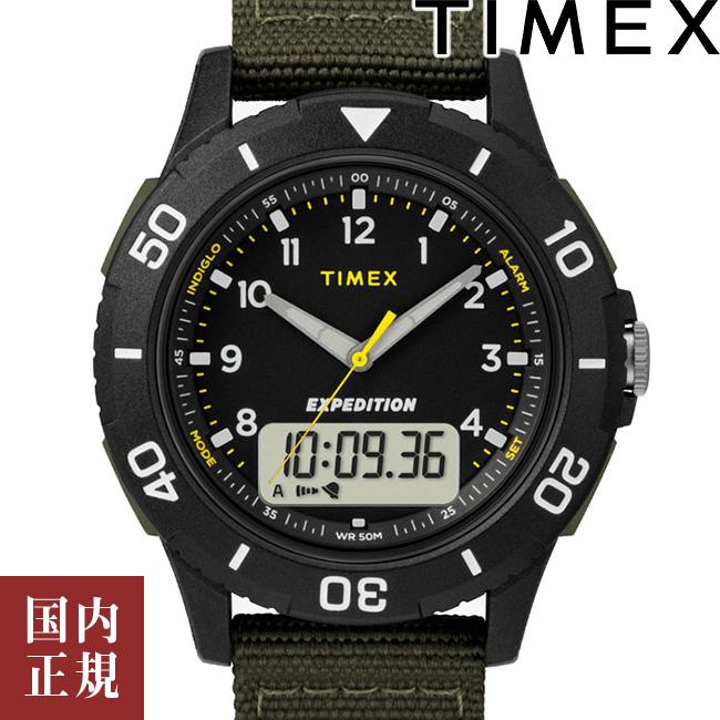 当店のお買い物マラソンはエントリーで更にポイント10倍!19日(土)1:59まで!タイメックス 腕時計 メンズ カトマイ コンボ 40mm アナデジ ブラック/グリーン TIMEX TW4B16600 安心の正規品 代引手数料無料 送料無料 あす楽 即納可能