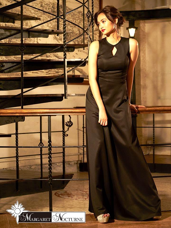 GACKT MARGARET NOCTURNE デコルテカットアウトノースリロングドレス S M L 黒 キャバ ドレス キャバドレス ワンピース パーティードレス レディース 女性 デイジーストア