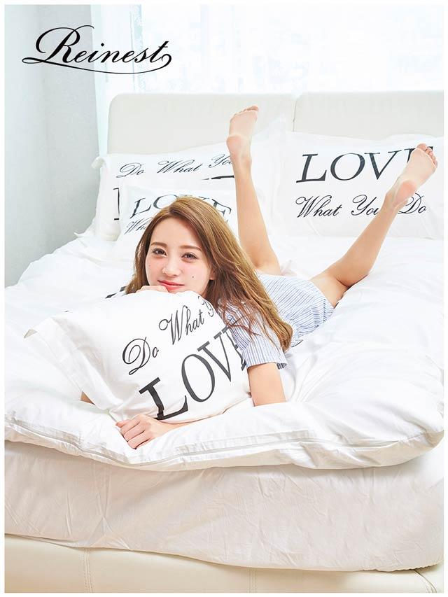ベッド シングル シーツ セット [Reinest]Love messeage Bedding [シングル:ベッドカバー6点セット] ピローケース クッションケース 6点セット 布団カバー ボックスシーツ コットン100% 綿100%