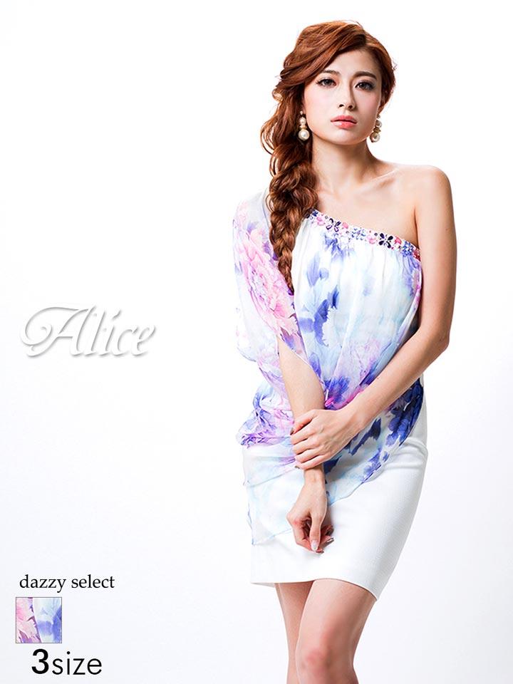 【送料無料】 ドレス キャバ Alice S M Lサイズ カラービジュー付きワンショルダータイトミニドレス 花柄 レディース ladies dress 大人 女性 dazzy ストア