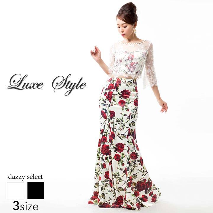 【送料無料】 ドレス キャバドレス ワンピース 大きいサイズ LuxeStyle S M L デコルテ 腕透け見せウエスト 背中見せ薔薇柄七分袖マーメイドロングドレス 黒 薔薇柄 花柄 ローズ 大人 袖付き 七分袖 デイジーストア あす楽