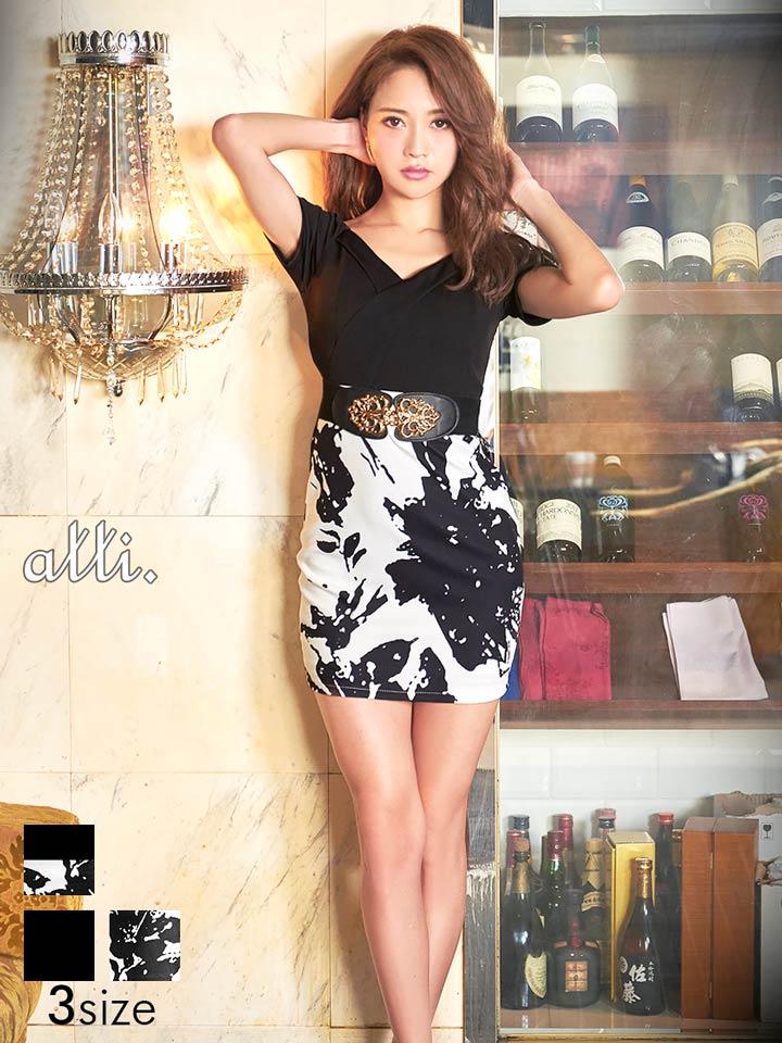 d4a82c548bb13 ドレス キャバドレス ワンピース ナイトドレス 大きいサイズ S M Lサイズ ゴムベルト付きブラックマルチフラワー柄オフショルタイトミニドレス  dazzyQueen 黒 白 ...