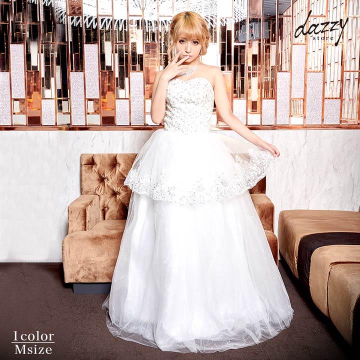 ドレス キャバドレス 大きいサイズ M 刺繍フラワーレースベアペプラムプリンセスAラインロングドレス ドレス 二次会 花嫁 誕生日 dazzyQueen 白 プリンセス イベント デイジーストア あす楽