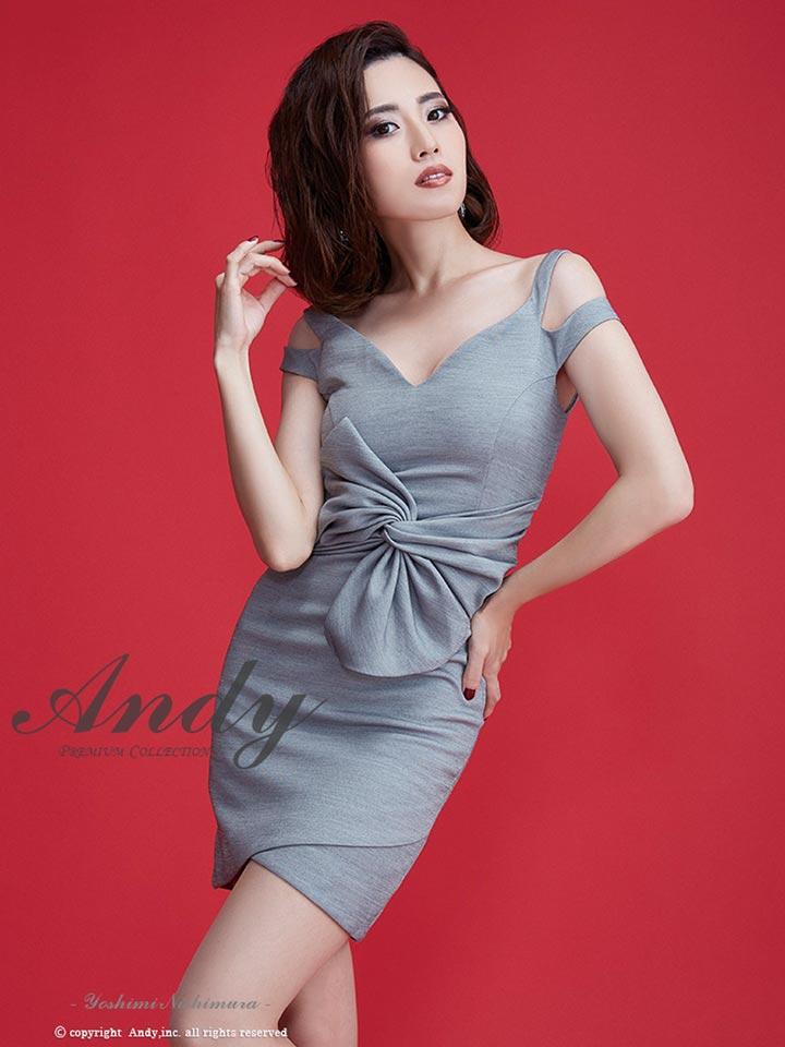 【送料無料】 ドレス キャバドレス ワンピース 大きいサイズ Andy S M ウエストリボンカットアウトタイト ミニドレス AN-OK1565 黒 グレー 赤 白 青 無地 シンプル ワンカラー レディース 女性 デイジーストア