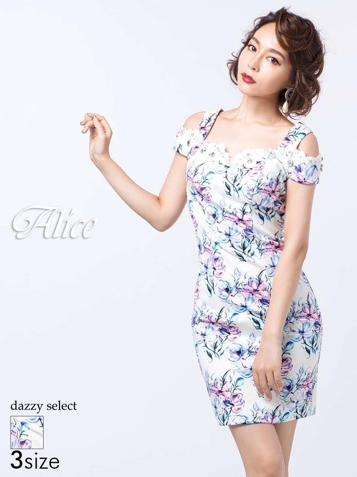 【送料無料】 ドレス キャバドレス ワンピース 大きいサイズ Alice S M L Alice 52750 フラワープリント肩あきタイトキャバドレス ワンピース 白 黒 モノトーン レディース 女性 デイジーストア