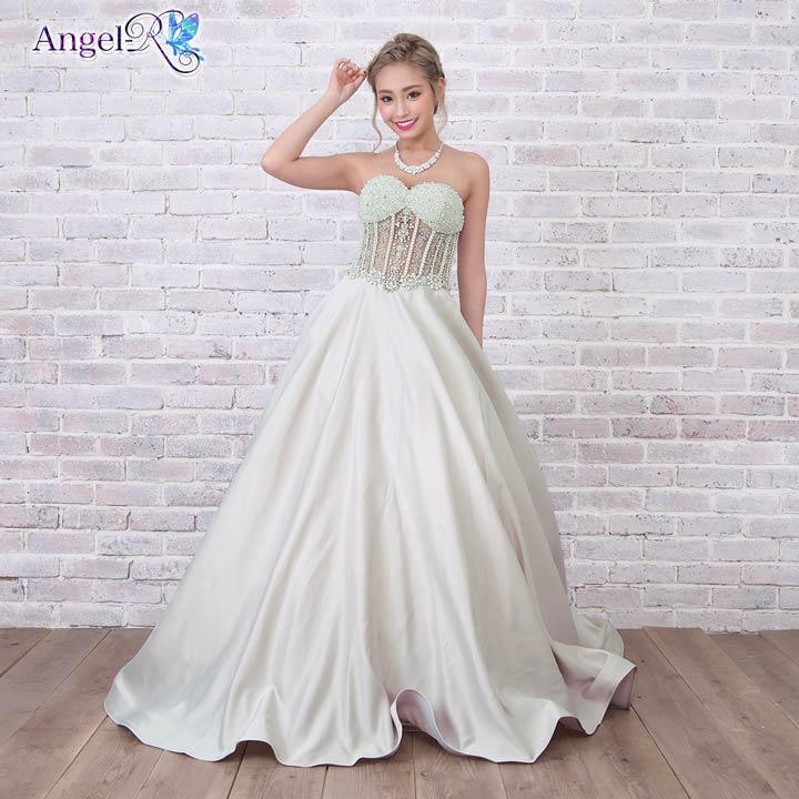 AngelR キャバ ドレス キャバドレス 贅沢刺繍パールビジュー付トップスレース透けベアAラインフレアロングドレス ドレス 二次会 花嫁 誕生日 minidress 大人 女性ホワイト グレー ベージュ デイジーストア あす楽