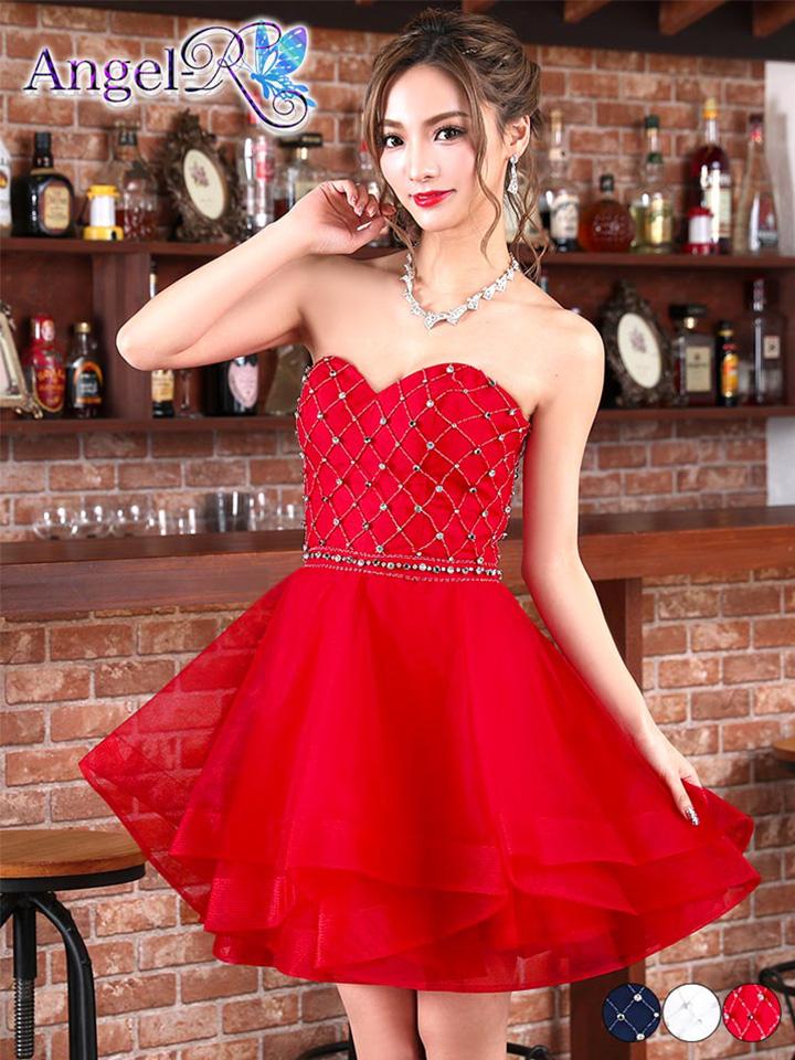 AngelR キャバ ドレス キャバドレス ワンピース ビジューティアードフレア ミニドレス Sサイズ 白 赤 紺 ワンカラー シンプル 無地 レディース 女性 デイジーストア あす楽