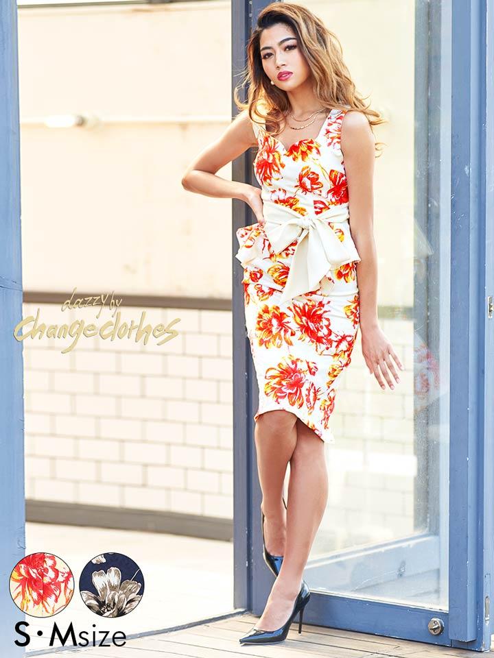 5c91b469db2f8 送料無料キャバドレスキャバドレスワンピースナイトドレス水彩flowerプリントウエストリボンタイトドレス ...