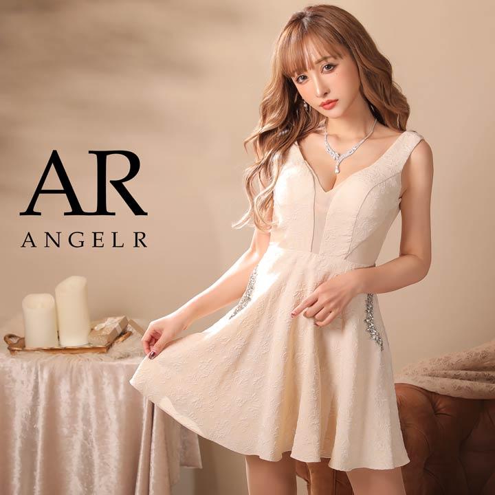 【送料無料】 AngelR キャバ ドレス キャバドレス ワンピース 花柄ビジューフレア ミニドレス minidress 大人 女性 ベージュ ピンク 黒 誕生日 デイジーストア
