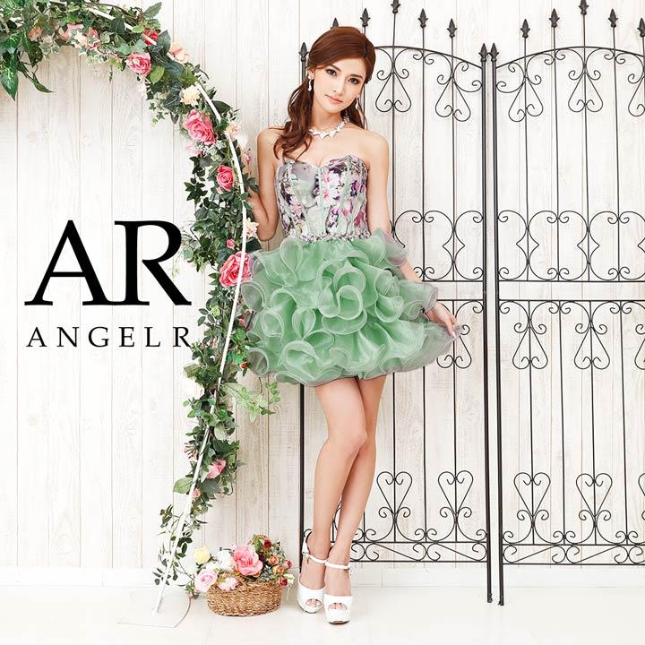 AngelR キャバ ドレス キャバドレス ワンピース ベアトップ花柄オーガンジー ミニドレス minidress 大人 女性 ピンク 青 緑 誕生日 デイジーストア あす楽