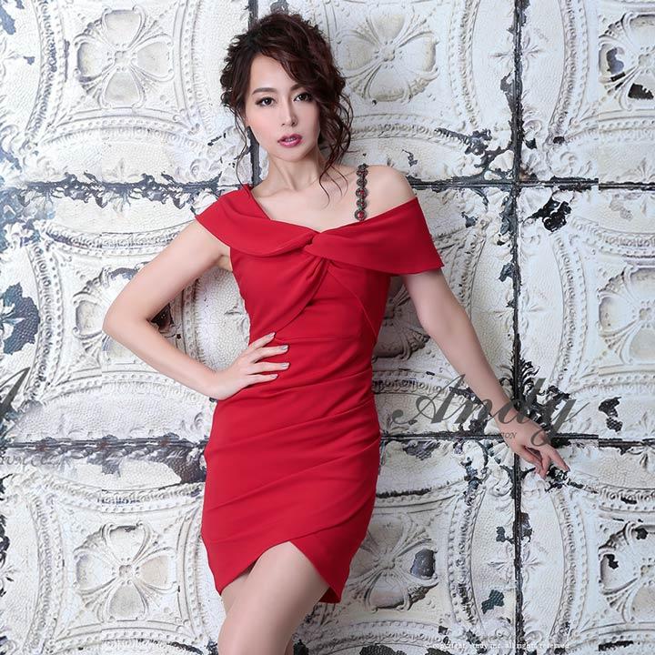 ドレス キャバドレス ワンピース Andy S M オフショル ワンカラー ラップ風 タイト ミニドレス 白 ピンク 赤 黒 シンプル レディース 女性 デイジーストア あす楽