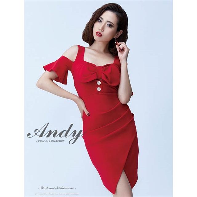 【送料無料】 ドレス キャバドレス ワンピース Andy S M リボン フリル ラップ風 タイト ミニドレス 赤 オープンショルダー ベルスリーブ シンプル 無地 女性 デイジーストア あす楽