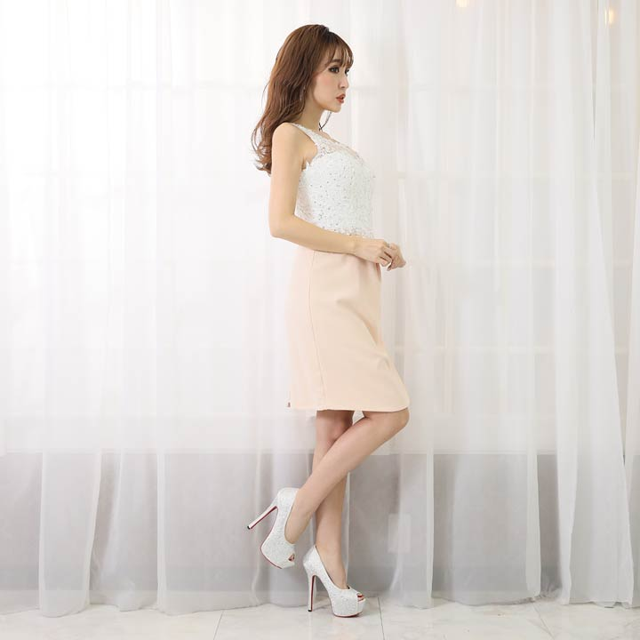 1bb7443b4b5e2 ... キャバドレスミニキャバドレスワンピースナイトドレス刺繍レースタイトドレスSM白紺青ピンク ...