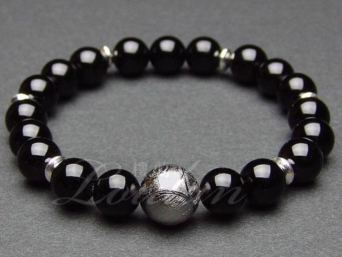 ギベオン隕石10mmAAA、オニキス8mmAAA【昇龍ブレス 2101-10-001-0】天然石 パワーストーン ブレスレット ブレス 【送料無料】
