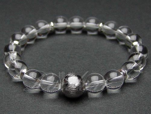 ギベオン隕石10mmAAA、水晶8mmAAA【昇龍ブレス 2101-10-002-0】天然石 パワーストーン ブレスレット ブレス 【送料無料】