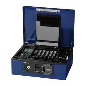 [カール事務器]キャッシュボックス ブルー CB-8760-B