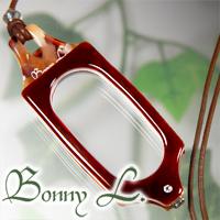 邦尼 L.吊坠放大镜,放大镜吊坠方形项链棕色