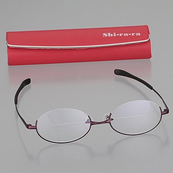 Shi-ra-ra 上下 遠近メガネ ワイン G08907 カートン 遠近両用 老眼鏡 シニアグラス 男性 女性 おしゃれ 遠近両用メガネ アンダーリム