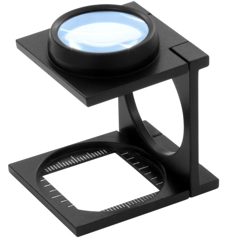 【メール便送料無料】 リネンテスターとは 繊維の織りあがりや印刷などの検査用ルーペです 虫眼鏡 リネンテスター 7552 6倍 27mm ダブルレンズ ブラック ミリインチメモリ 測量,検査用ルーペ 日本製 池田レンズ