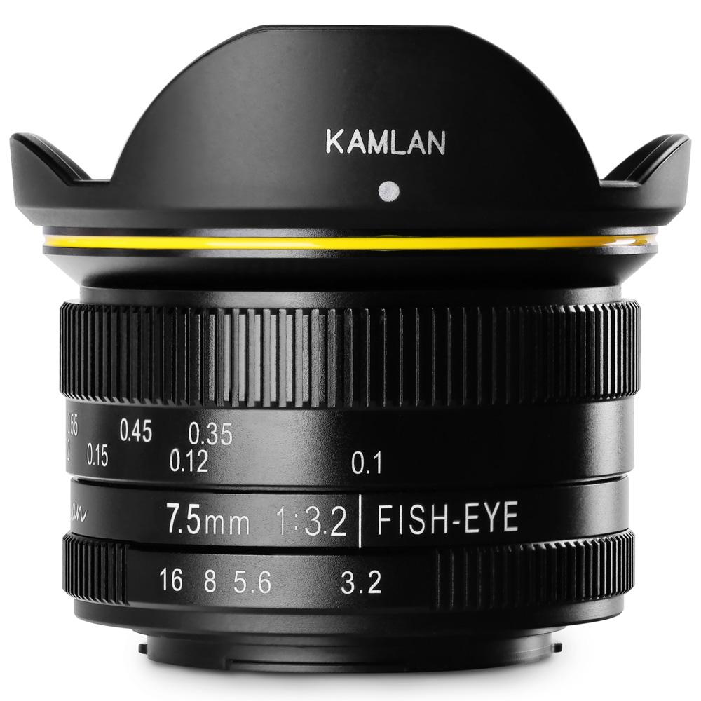ミラーレス一眼 カメラ 交換レンズ 単焦点レンズ マイクロフォーサーズ用 フィッシュアイレンズ 魚眼 FS 7.5mm F3.2 MFT KAMLAN カムラン