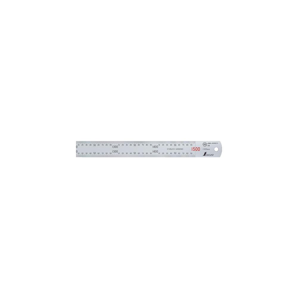 直尺 シルバー 1.5m 赤数字入 JIS 13056 ステンレス ステン スケール 定規 シンワ測定