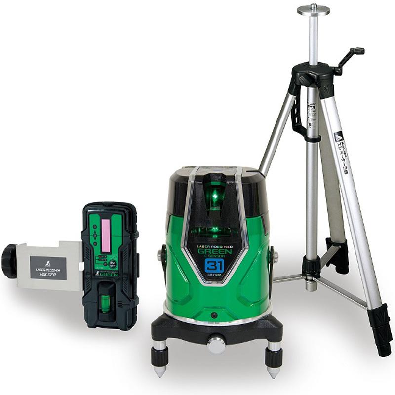 レーザーロボ グリーン NeoESensor31 受光器・三脚セット 71613 シンワ測定 レーザー 光学機器 建築 土木 測量 測定器 測量用品