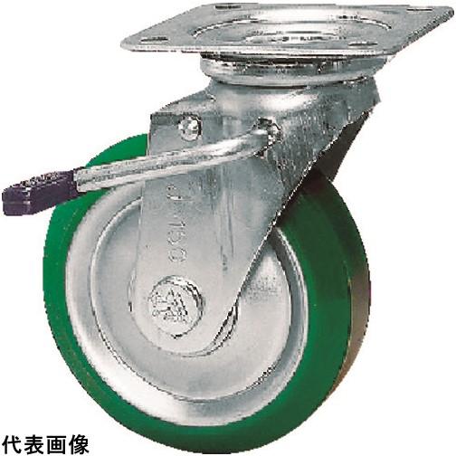 シシク スタンダードプレスキャスター ウレタン車輪 自在ストッパー付 250径 [UWJB-250] UWJB250 販売単位:1 送料無料