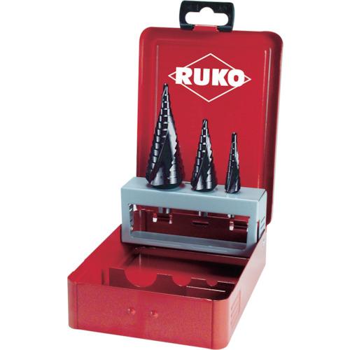 RUKO 2枚刃スパイラルステップドリルセット 3本組 チタンアルミウム [101026F] 101026F 販売単位:1 送料無料