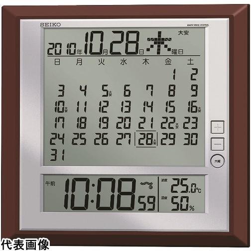 SEIKO 液晶マンスリーカレンダー機能付き電波掛置兼用時計 茶メタリック塗装 [SQ421B] SQ421B 販売単位:1 送料無料