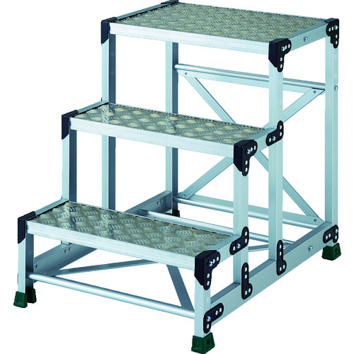 TRUSCO トラスコ中山 アルミ合金製作業台 縞鋼板 3段 高さ0.75m 600X400 [TSFC-3675] TSFC3675 販売単位:1 送料無料