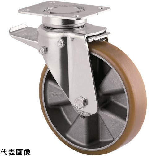 テンテキャスター 重荷重用高性能旋回キャスター(ウレタン車輪) φ160自在式(トータルロック付) [3642ITP160P63 CONVEX] 3642ITP160P63CONVEX      販売単位:1 送料無料