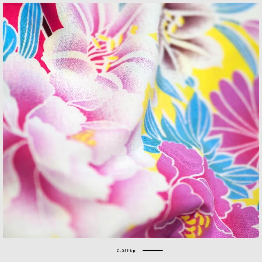 女性浴衣 レディース浴衣 浴衣 浴衣単品 仕立て上がり レトロ 女性用 フリー ホワイト 白 ピンク 牡丹 菊