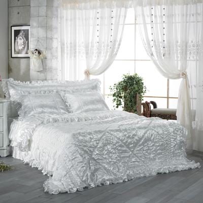 【送料無料】人工 シルク ドルチェE・ キング 4点セット|ウェディングドレス のような デザイン 寝具セット|全サイズオーダー可能|布団丸洗い|かわいい|新居|子供部屋|新婚【高級寝具】|布団セット|寝具セット|かわいい寝具|掛け布団|ふとん