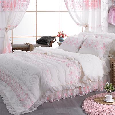 【送料無料】ノーブレス E シングル 4点セット|ウェディングドレスのようなデザイン寝具セット|全サイズオーダー可能|布団丸洗い|ピンク|かわいい|新居|子供部屋|新婚【高級寝具】