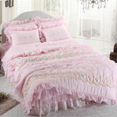 【送料無料】ノーブレス B キング 4点セット|ウェディングドレスのようなデザイン寝具セット|全サイズオーダー可能|布団丸洗い|ピンク|かわいい|新居|子供部屋|新婚【高級寝具】